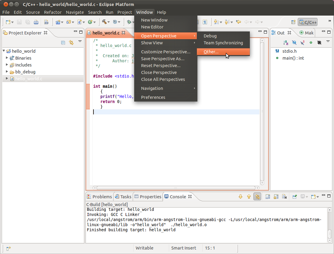 Using Eclipse to Cross-compile, Part 4: Compile and Run a